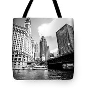 Chicago Wrigley Tribune Equitable Buildings Black And White Phot Tote Bag