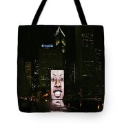Chicago's Crown Fountain At Night Tote Bag by Christine Till
