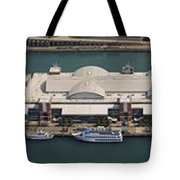 Chicago's Navy Pier Aerial Panoramic Tote Bag by Adam Romanowicz