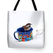 Chickadee And Tin Cup In Snow Tote Bag
