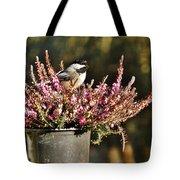 Chickadee On Heather Tote Bag