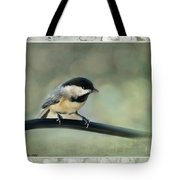 Chickadee With Frame  Tote Bag