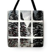 Chickadees And Dogberries Abstraction Tote Bag