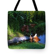 Chicken By The Pond Tote Bag