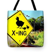 Chicken Crossing Tote Bag