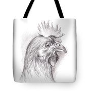 Chicken Portrait In Charcoal Tote Bag