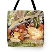 Chickens In The Hedge II Tote Bag