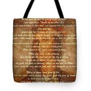 Chief Tecumseh Poem Tote Bag