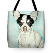 Chihuahua White With Black Spots Tote Bag