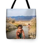 Child And Mother Playing In Hot Springs Tote Bag