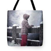 Child In Snow Tote Bag