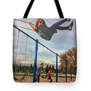 Child On Swing Tote Bag