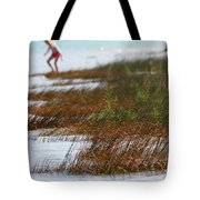 Child Playing On The Beach Mackinaw City Tote Bag