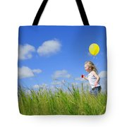 Child Running With A Balloon Tote Bag