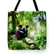 Children And Ducks In Park Tote Bag