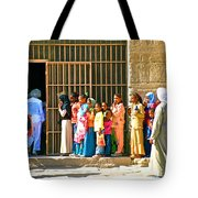 Children And Tourists At Entry To Temple Of Hathor In Dendera-egypt Copy Tote Bag by Ruth Hager