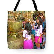 Children Bring Lotus Flowers To Royal Temple At Grand Palace Of Thailand Tote Bag