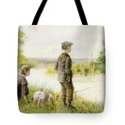 Children Fishing By A Stream Tote Bag