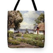 Children In A Farmyard Tote Bag by Peder Monsted