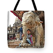 Children Love The Elephants In Patan Durbar Square In Lalitpur-nepal Tote Bag
