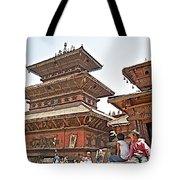 Children On Pagodas In Bhaktapur Durbar Square In Bhaktapur-nepal Tote Bag