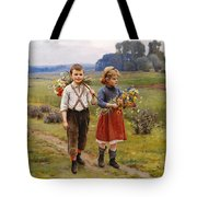 Children On The Way Home Tote Bag