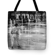 Children Play By Fountain Tote Bag