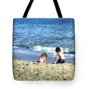 Children Playing On Beach Tote Bag