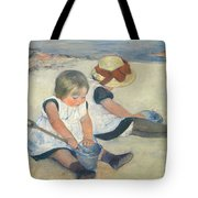 Children Playing On The Beach Tote Bag