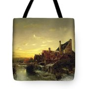 Children Playing On The Ice Tote Bag by Desire Tomassin