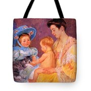 Children Playing With A Cat Tote Bag by Marry Cassatt