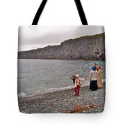 Children Throwing Capelin Back Into The Ocean At Middle Cove-nl Tote Bag