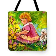 Children's Art - Little Girl With Puppy - Paintings For Children Tote Bag