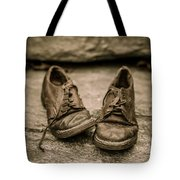 Child's Old Leather Shoes Tote Bag by Edward Fielding