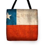 Chile Flag Vintage Distressed Finish Tote Bag