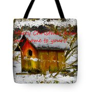 Chilly Birdhouse Holiday Card Tote Bag