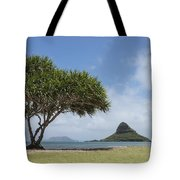 Chinamans Hat With Tree - Oahu Hawaii Tote Bag