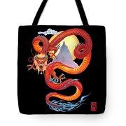 Chinese Dragon On Black Tote Bag
