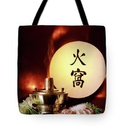 Chinese Food Against A Backgroup Of Flames Tote Bag