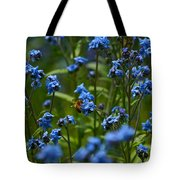 Chinese Forget Me Nots And Honey Bee Tote Bag