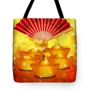 Chinese Gold Bars And Fan With Text Happy New Year Tote Bag