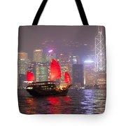 Chinese Junk Sail In Hong Kong Harbor At Night Tote Bag