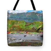 Chinese Landscape Abstract Graphic River Snow Peak Mountain Picnic Spot Skiing Raft Boat Tote Bag