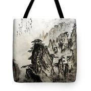 Chinese Mountains With Poem In Ink Brush Calligraphy Of Love Poem Tote Bag