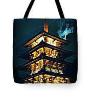 Chinese Pagoda At Night With Full Moon Tote Bag