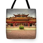 Chinese Temple Paved Square Tote Bag