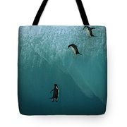 Chinstrap Penguins Leaping Tote Bag