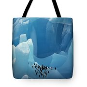 Chinstrap Penguins On Blue Iceberg Tote Bag