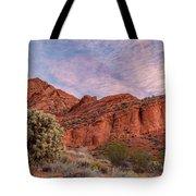 Cholla Cactus And Red Rocks At Sunrise Tote Bag