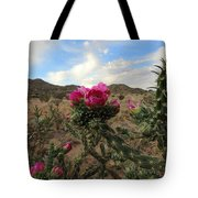 Cholla Cactus Blooming In The Sandia Foothills Tote Bag